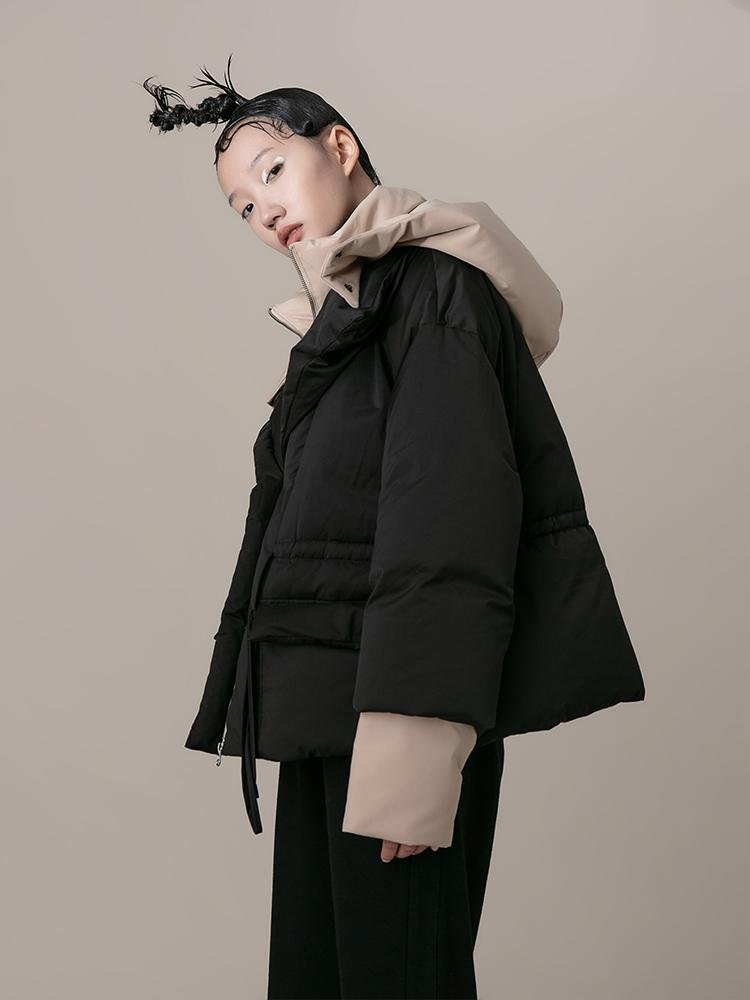 Layered Color Block Puffer Jacket - BLANCORE