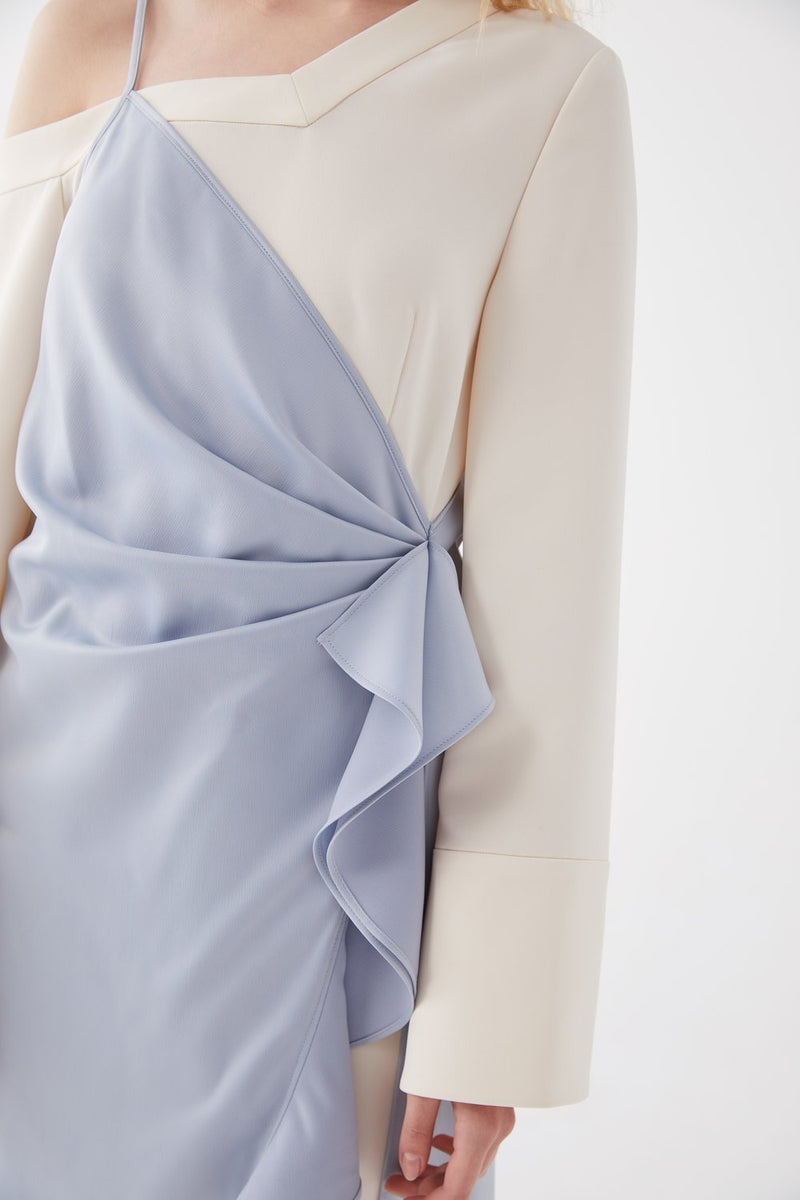 Layered Satin Wrap Dress - BLANCORE
