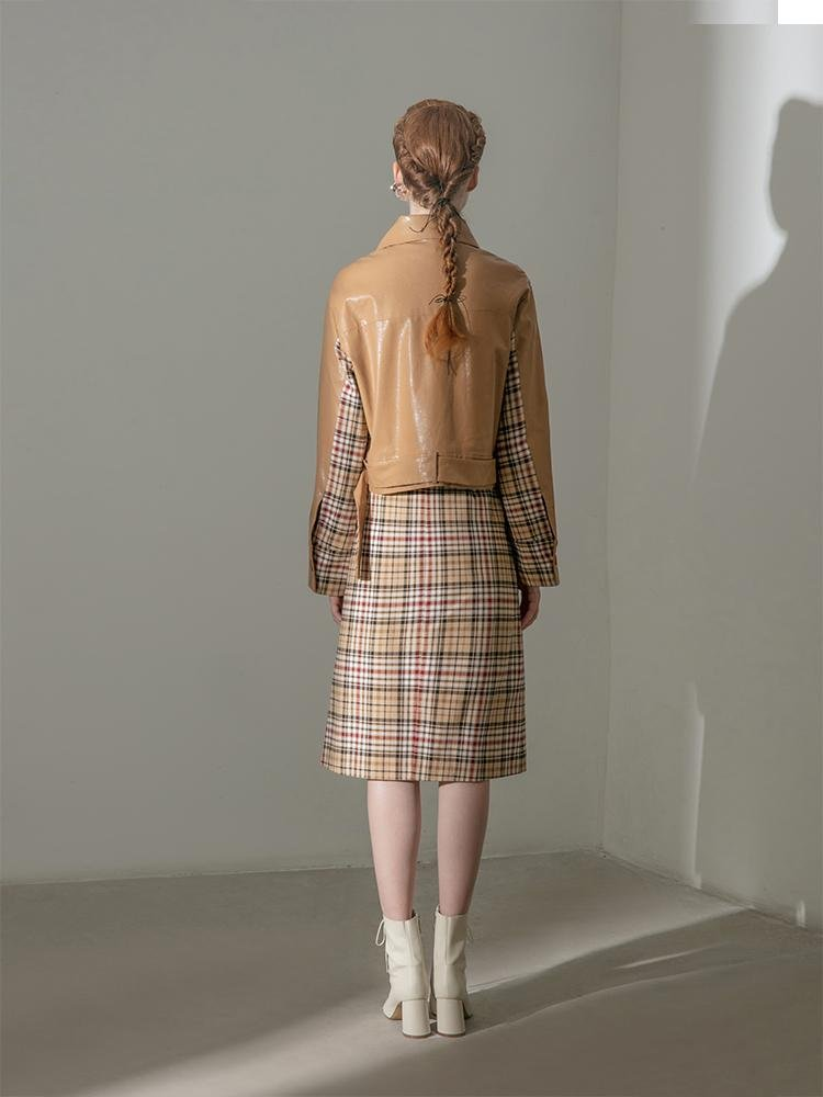 Leather Panel Plaid Jacket - BLANCORE