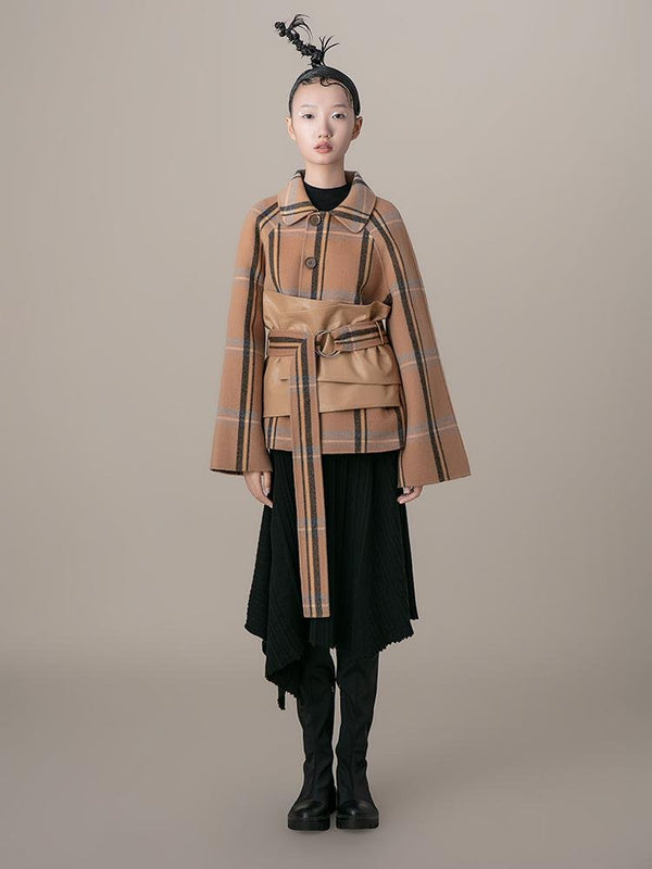 "Leather Panel Plaid Jacket With ""Corset"" Belt - BLANCORE"