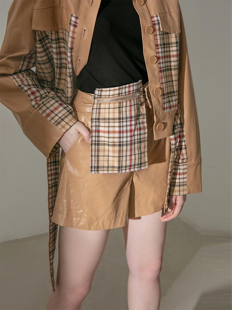 Leather Panel Plaid Short - BLANCORE