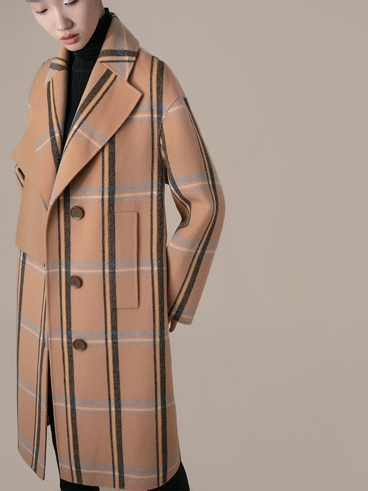 Leather Panel Plaid Wool Coat - BLANCORE