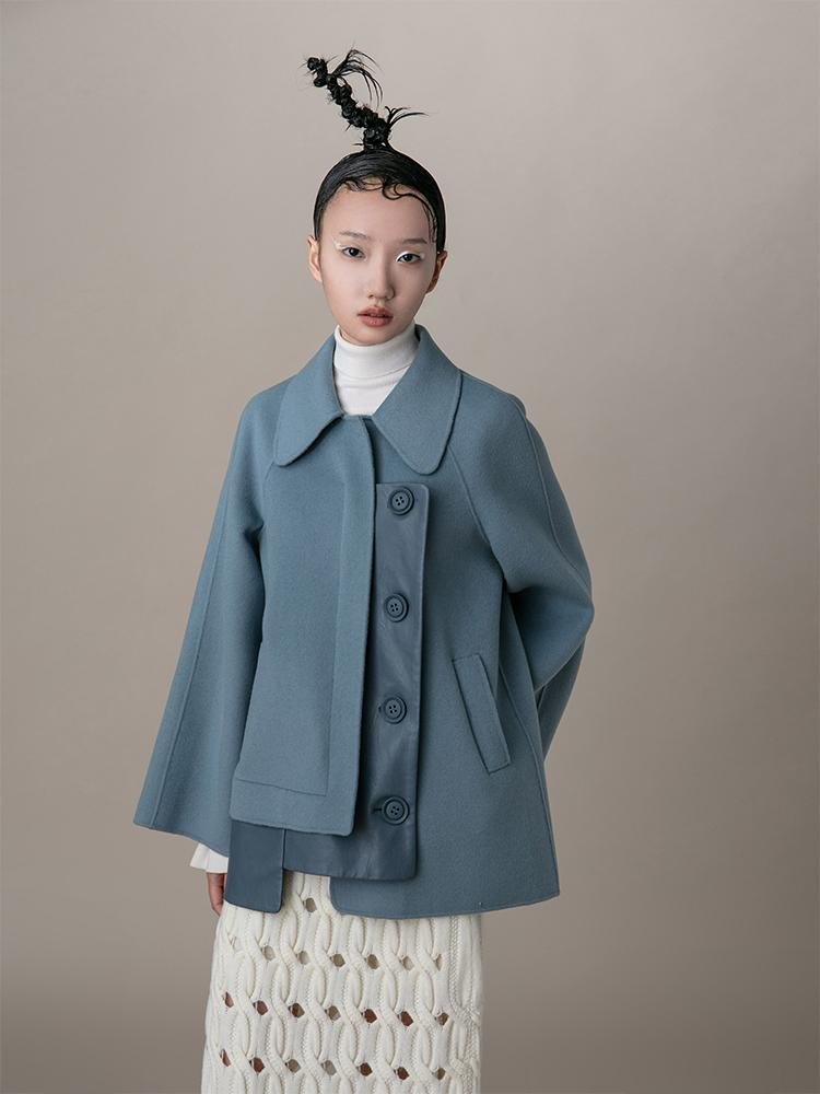 Leather Panel Wool Coat - BLANCORE