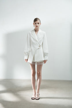 Mesh Panel Blazer with Puff Sleeve - BLANCORE