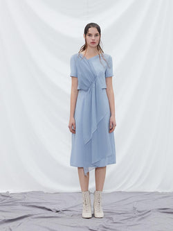 Mesh Panel Double Layer Dress - BLANCORE