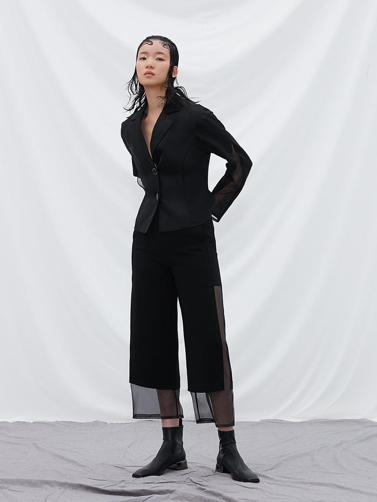 Mesh Panel Waisted Outerwear - BLANCORE