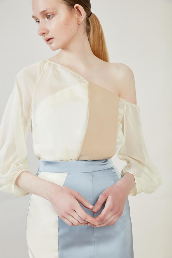Mesh Paneled One Shoulder Top - BLANCORE