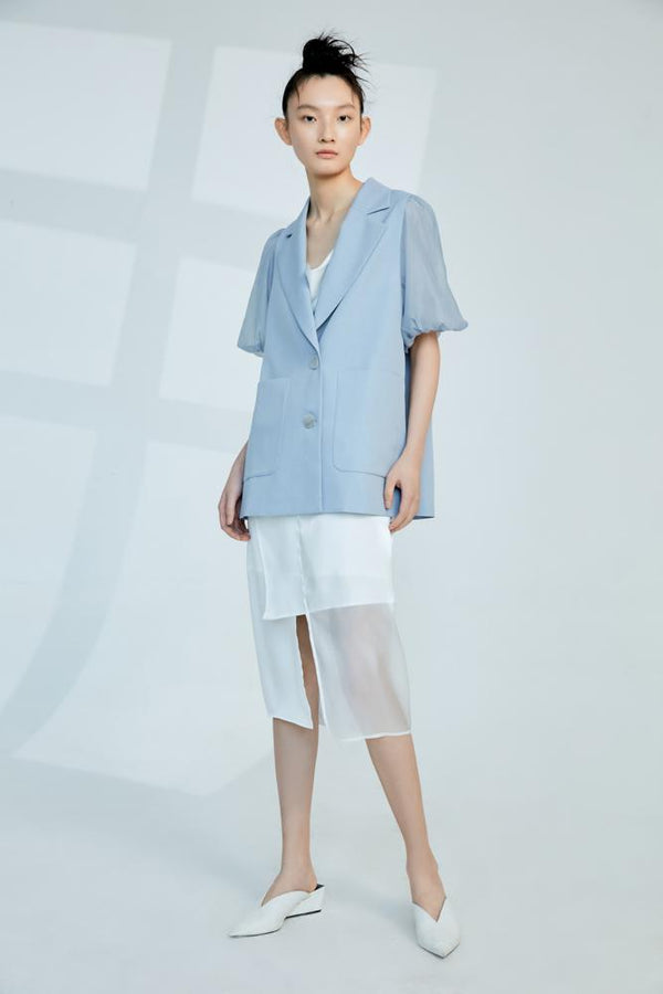 Mesh Paneled Puff Sleeve Outerwear - BLANCORE