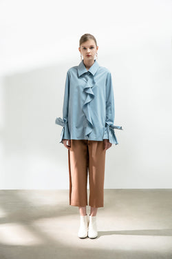 Mesh Panelled Frilled Shirt - BLANCORE