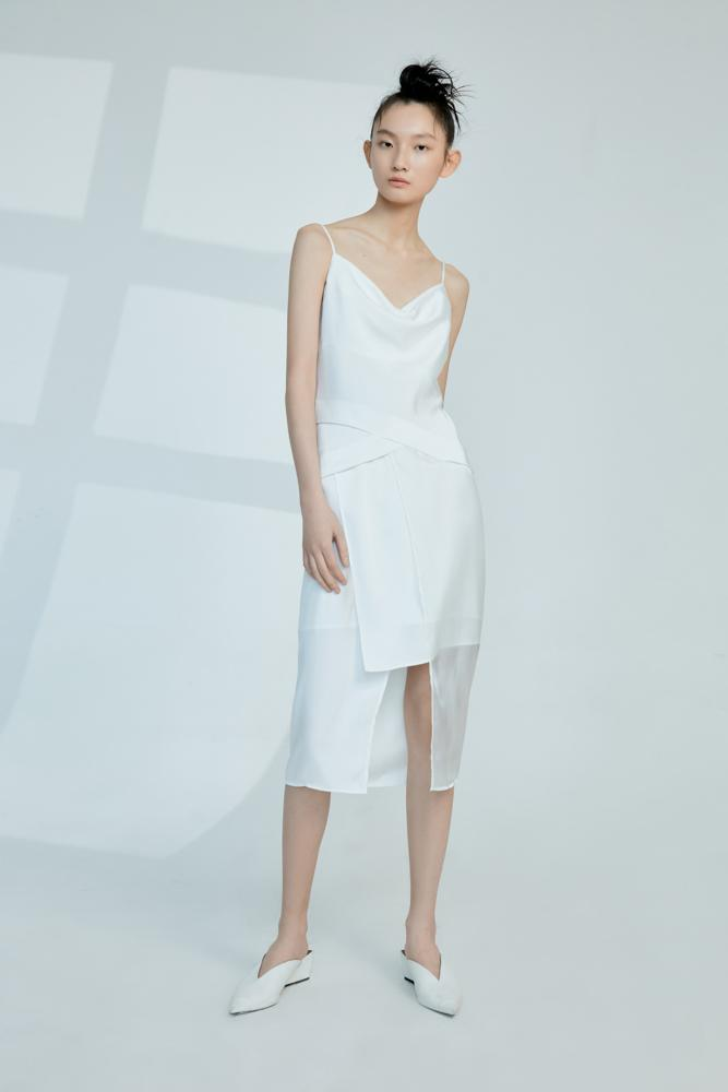 Mesh Panelled Slip Dress - BLANCORE