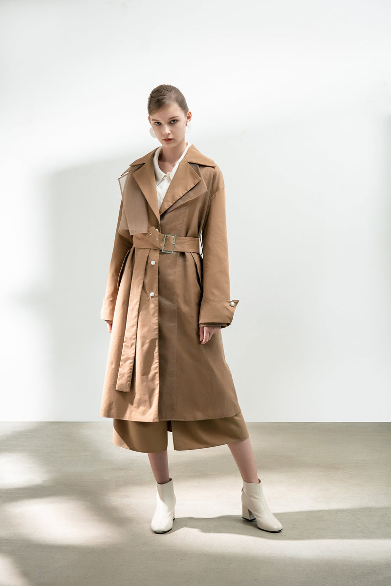 Mesh Panels Trench Coat With Belt - BLANCORE