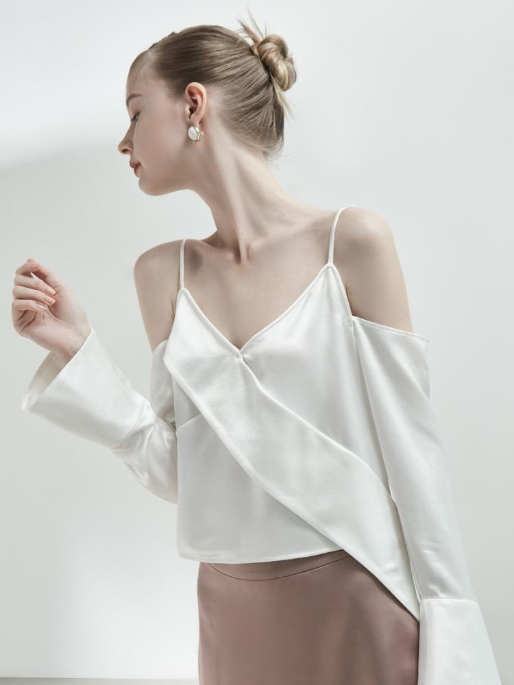 Off-Shoulder Lapel Top - BLANCORE