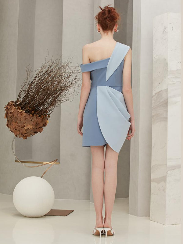 One Shoulder Dress with Bow - BLANCORE