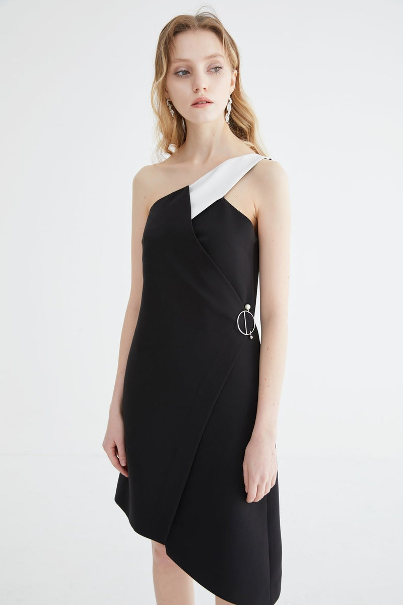One Shoulder Dress with Color Block Fold Detail - BLANCORE