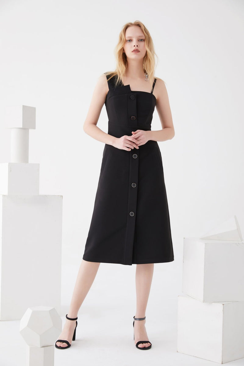 One- Shoulder Dress with Detailed Button - BLANCORE