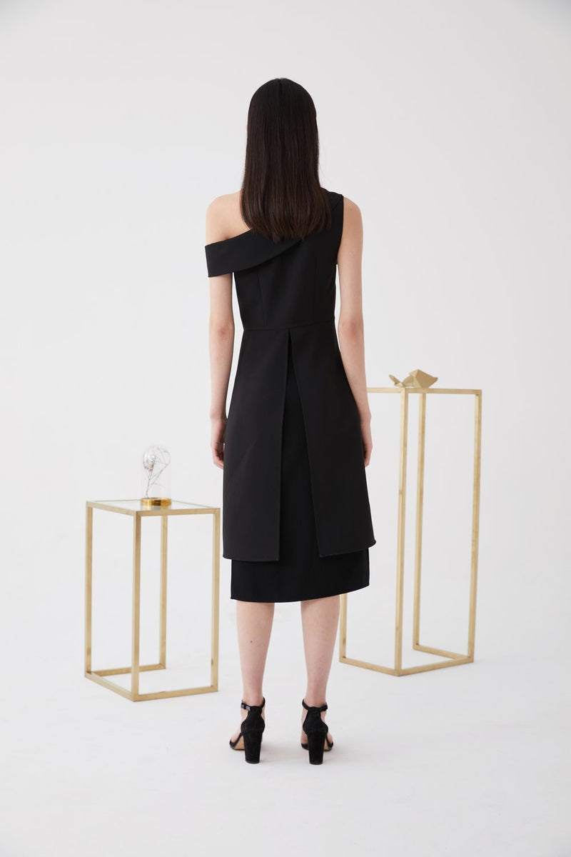 One- Shoulder Dress with Lapel - BLANCORE