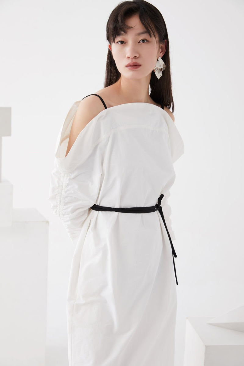 Open Shoulder Dress with Draped sleeves - BLANCORE