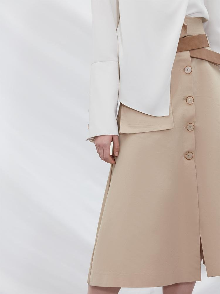 Overlapping Trench Skirt - BLANCORE