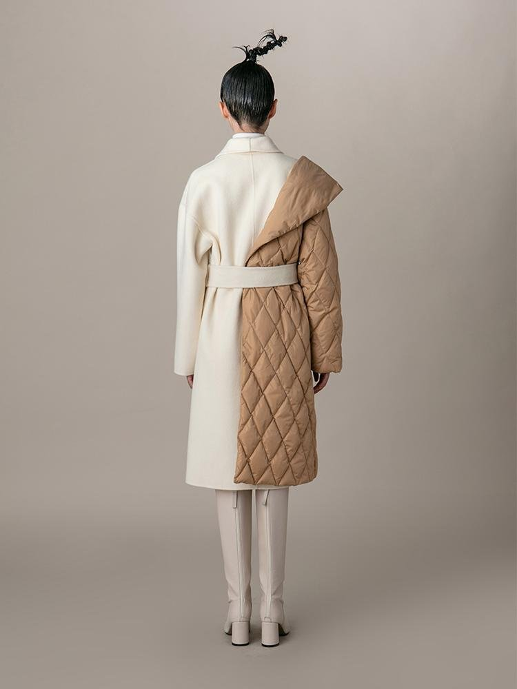 Paneled Coat With Color Block Puffer Detail - BLANCORE