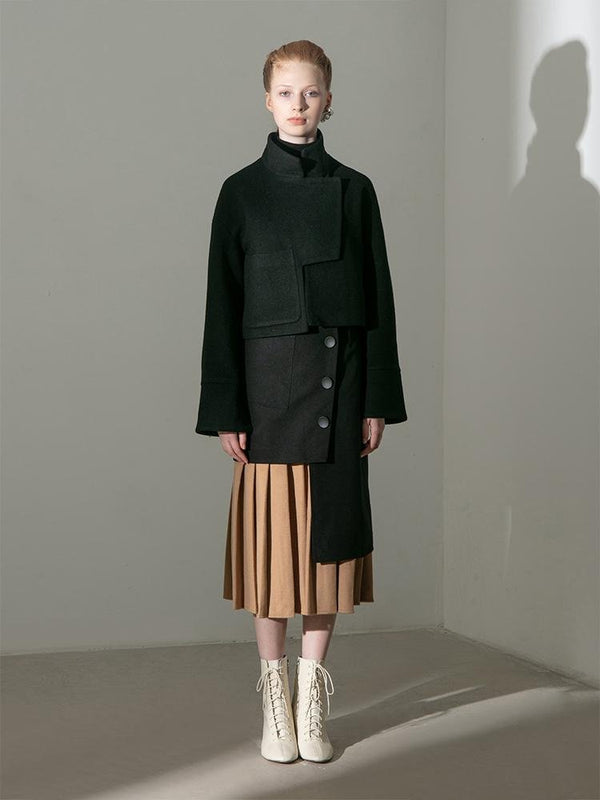 Paneled Skirt With Deconstructed Color Block Pleats - BLANCORE