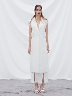 Pleat Paneled Vest - BLANCORE