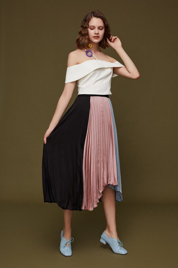 Pleated Color Block Skirt - BLANCORE