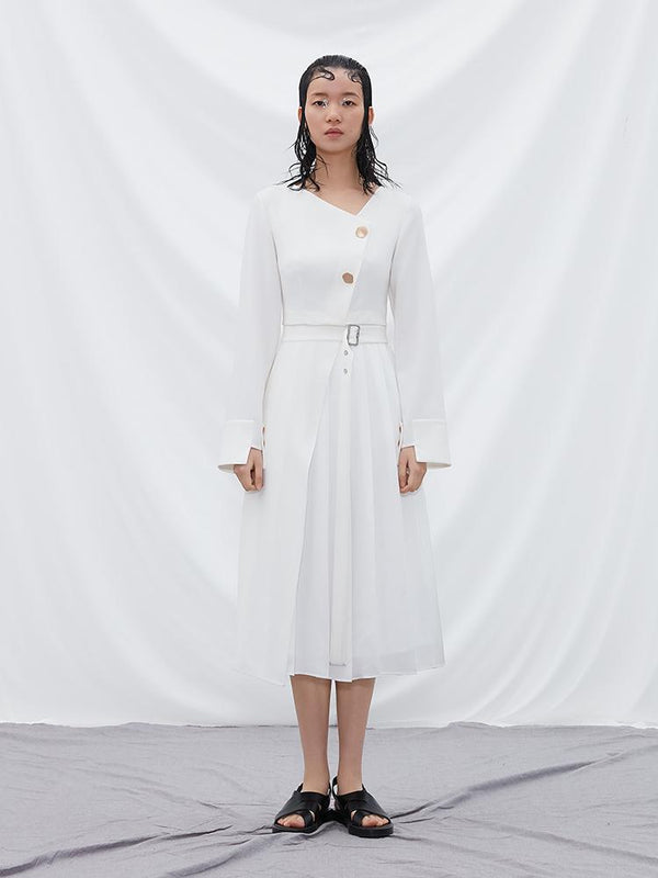 Pleated Dress with Detachable Skirt - BLANCORE
