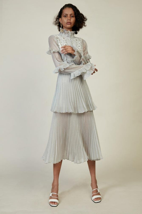 Pleated Stand Collar Dress - BLANCORE
