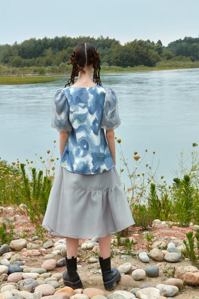 PRINTED TOP WITH PUFF SLEEVE - BLANCORE