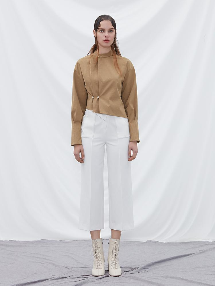 Puff Sleeve Top with Fold Detail - BLANCORE