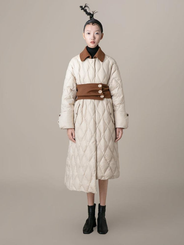 Puffer Coat With Wool Corset - BLANCORE