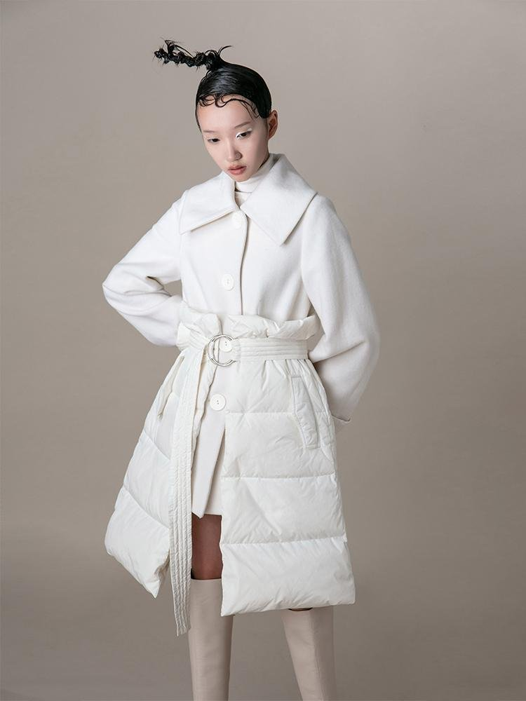 Puffer Panel Wool Coat With Belt - BLANCORE