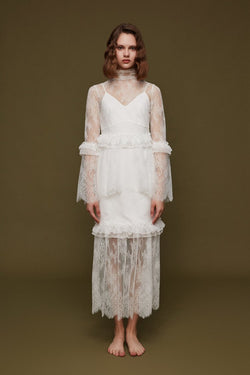 Ruffle Panelled Lace Dress - BLANCORE