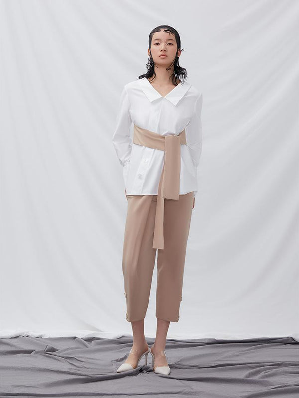 Shirt with Colot Block Belt - BLANCORE