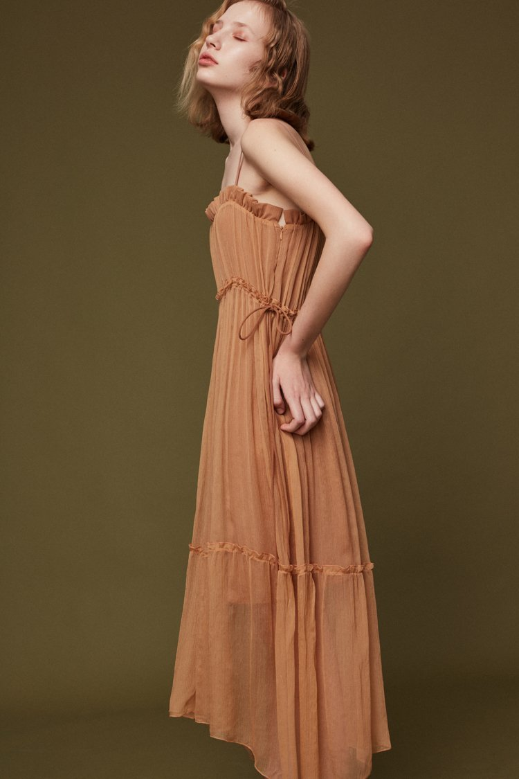 Silk Slip Dress with Draped Detail - BLANCORE