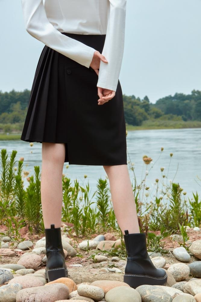 SKIRT WITH DETACHABLE BOTTOM - BLANCORE