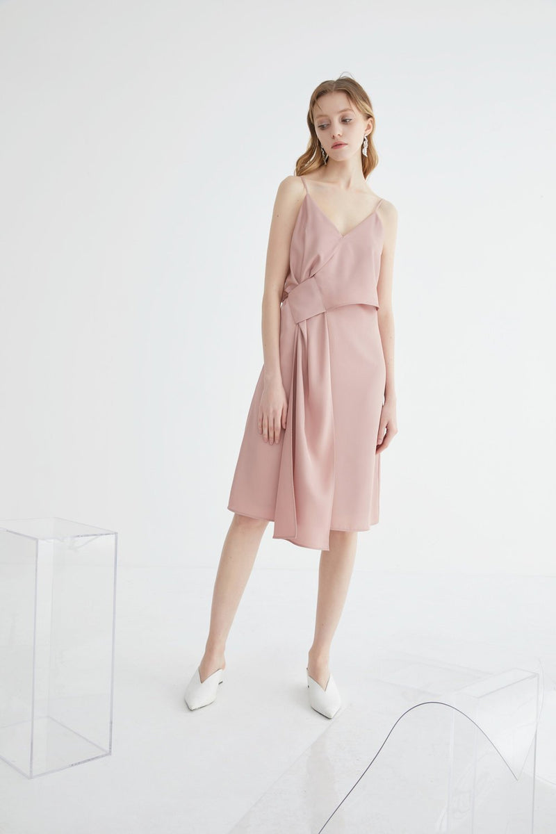 Slip Dress with Cross Over Detail - BLANCORE