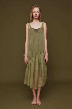 Slip Dress with Drawstring Detail - BLANCORE