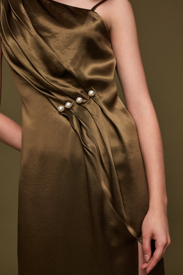 Slip Dress with Pearls - BLANCORE