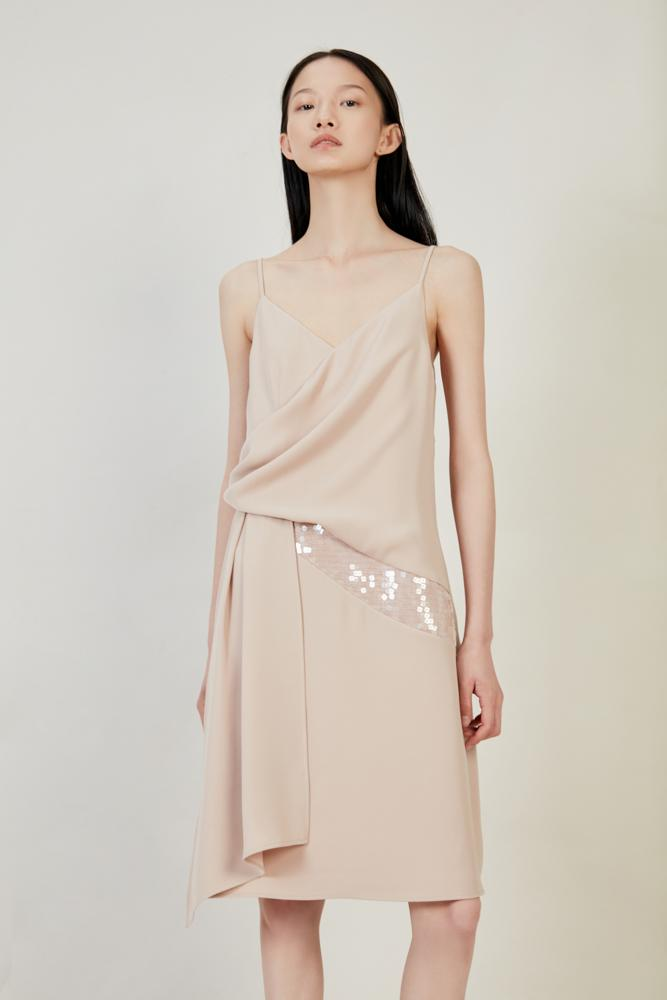Slip Dress With Sequin - BLANCORE