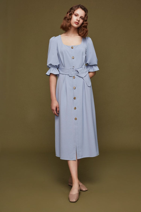 Square Neck Dress with Belt - BLANCORE