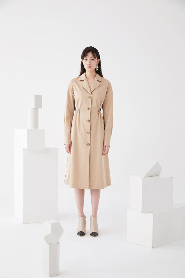 Stripe Paneled Trench Dress - BLANCORE