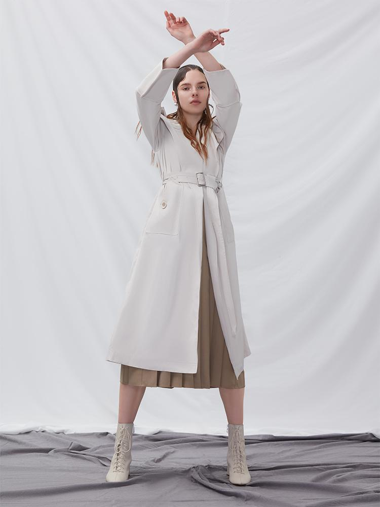 Trench Coat With Geometric Sleeve - BLANCORE