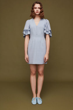 Waist Dress with Ruffle Sleeve - BLANCORE