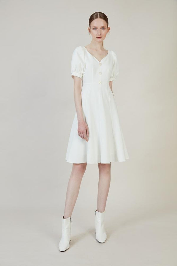 Waisted Dress with Puff Sleeve - BLANCORE