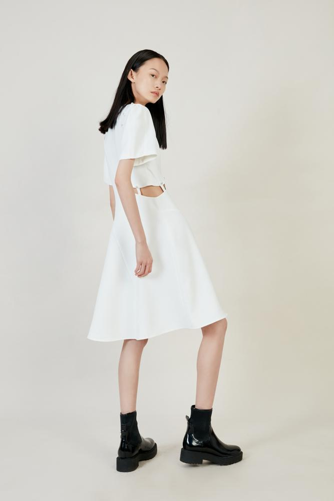 White Asymmetric Dress - BLANCORE