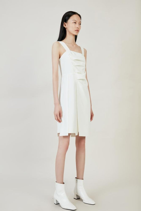 White Ruching Dress - BLANCORE