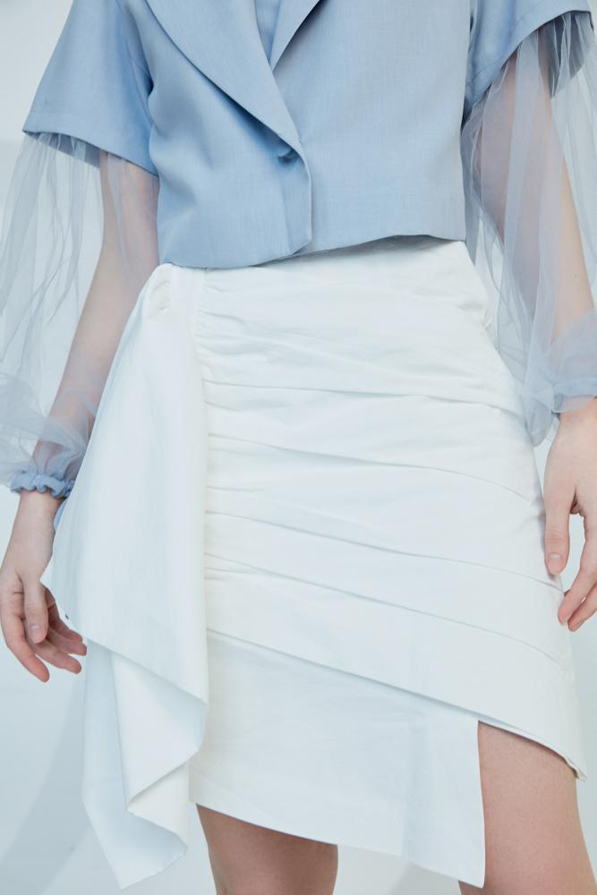 White Ruching Skirt - BLANCORE