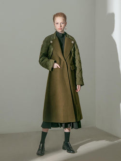 Wool Coat with Quilted Jacket - BLANCORE