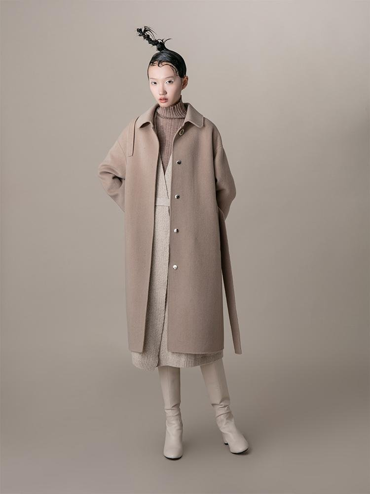 Wool Coat With Scarf - BLANCORE